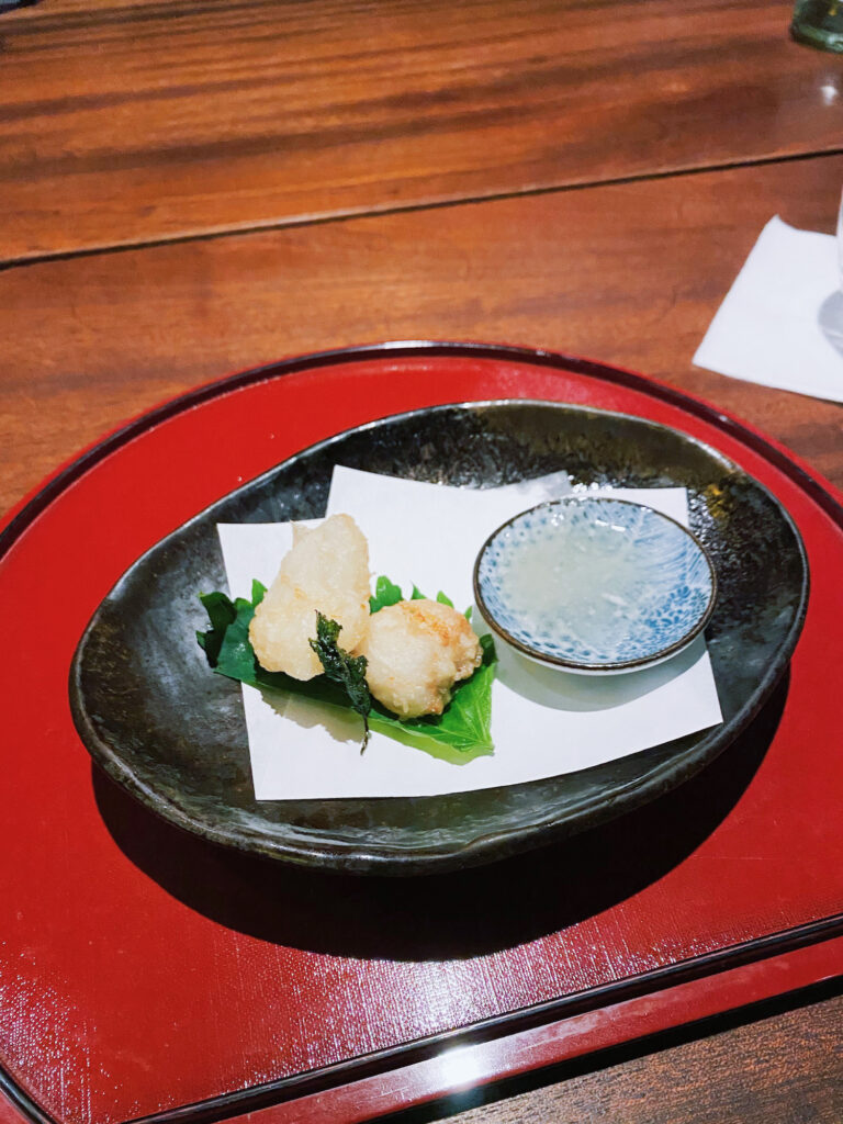 Zenkichi Monkfish Tempura on a plate