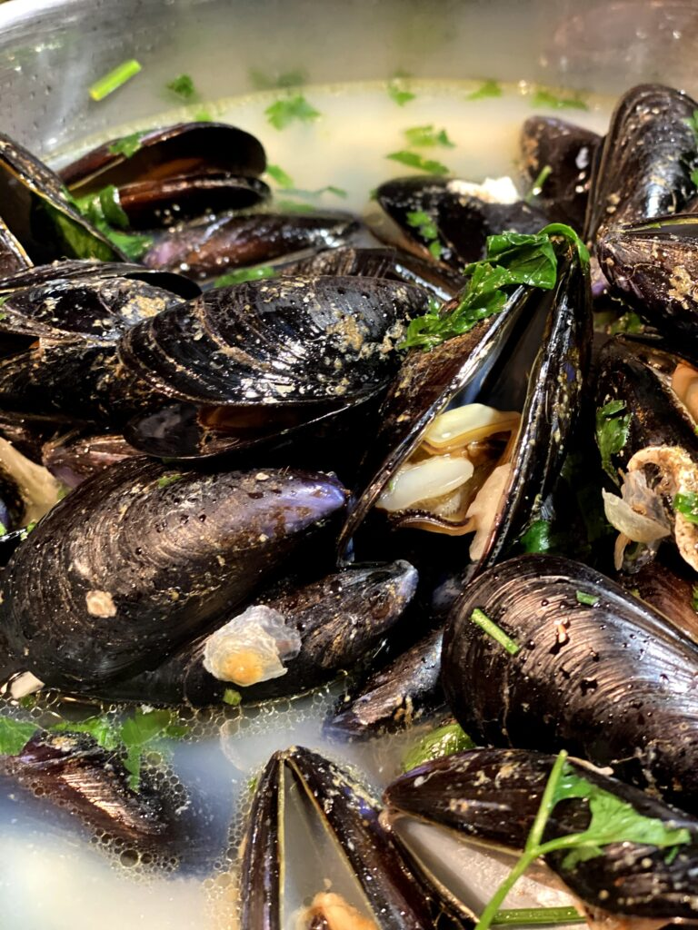 close up of cooked mussels